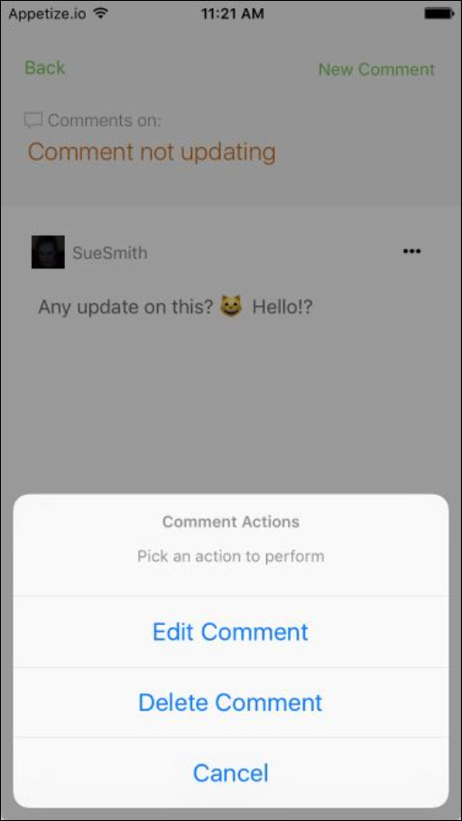 github comment options ios