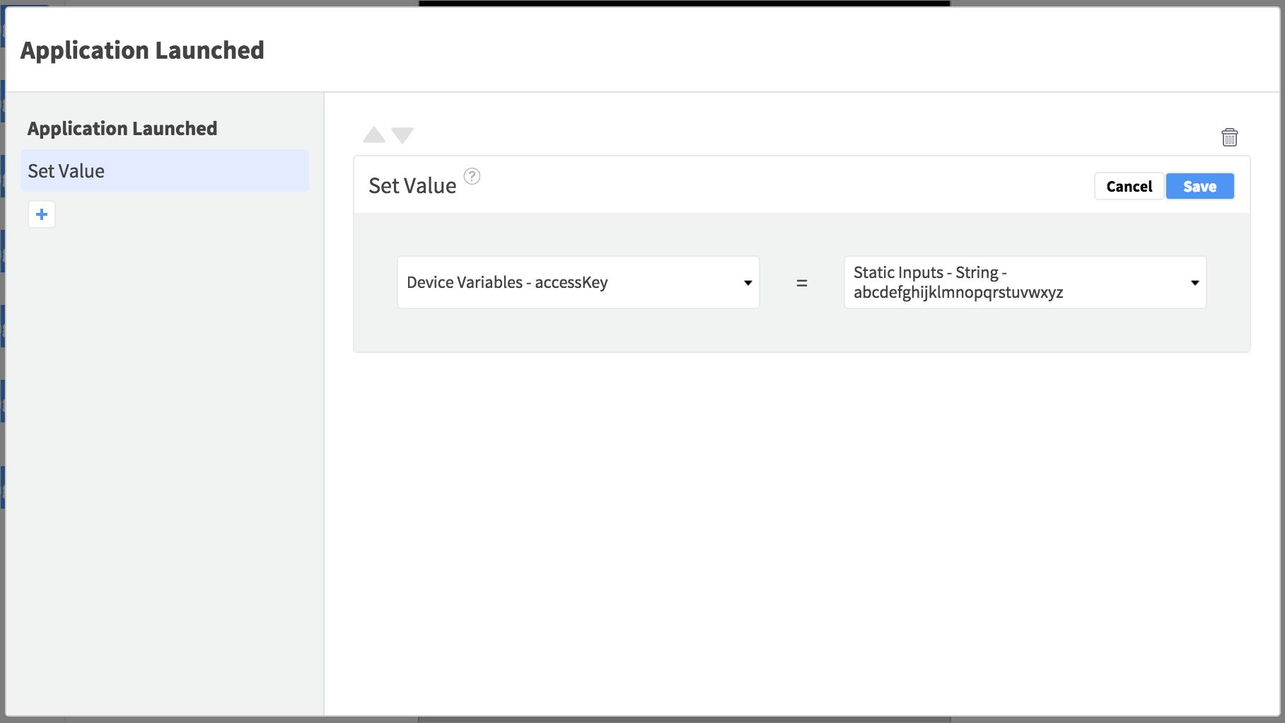 app launch set value