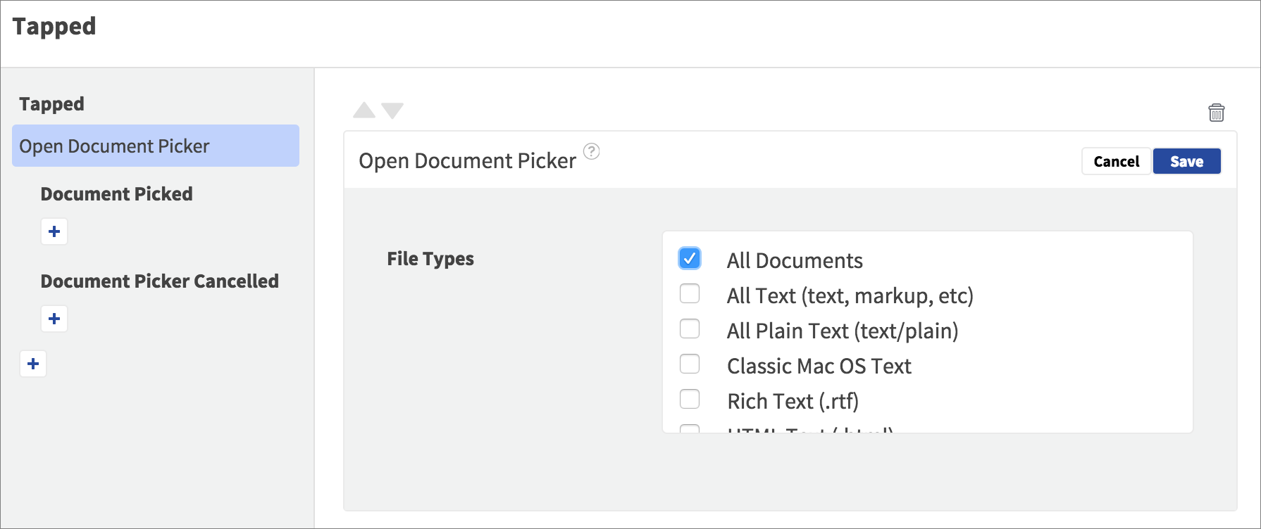 open document picker