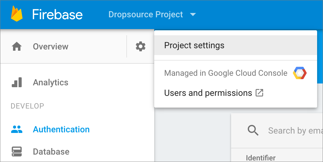 firebase project settings