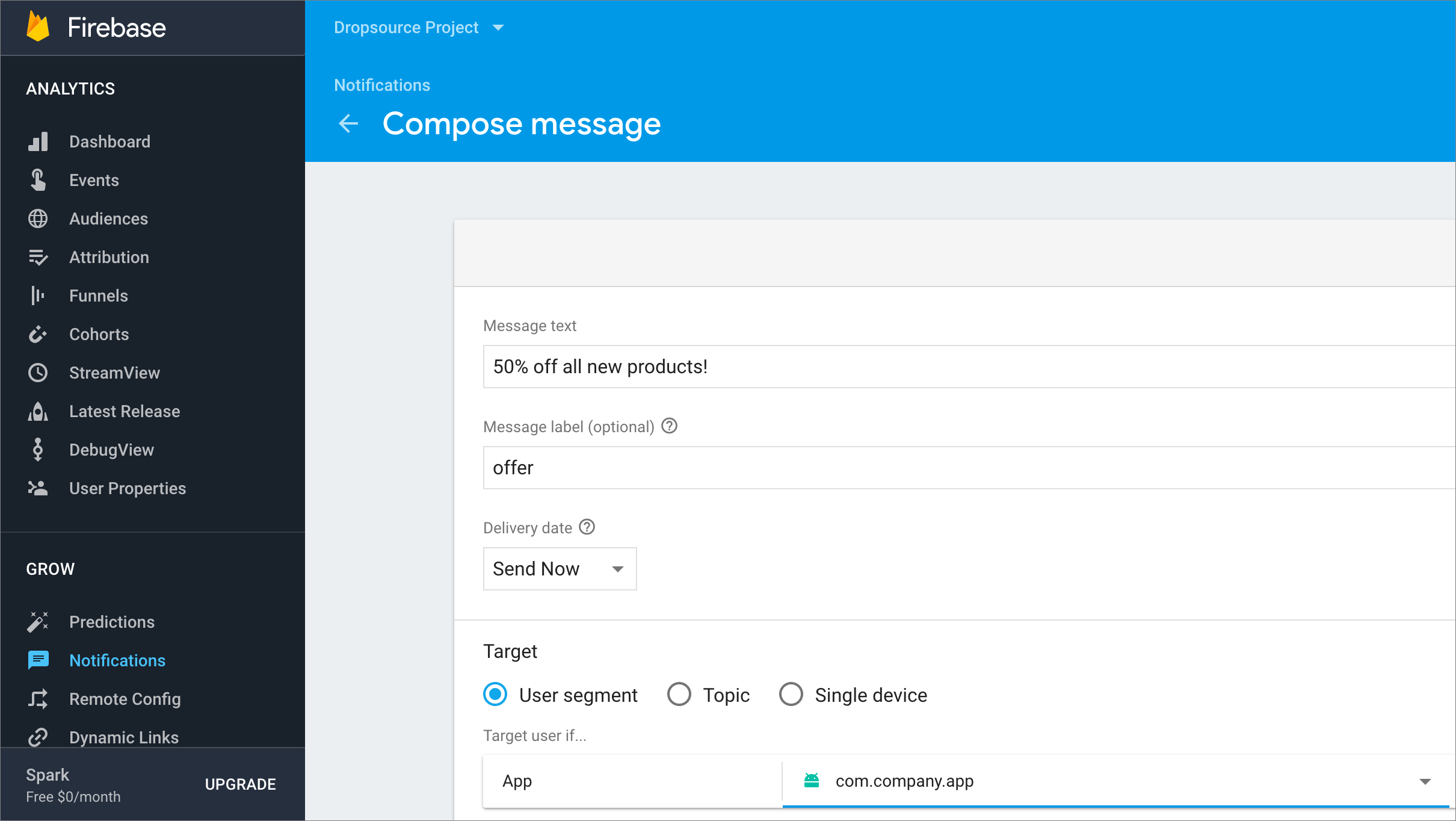new firebase message